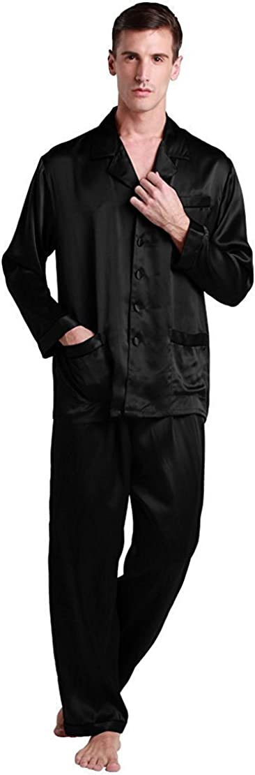 LilySilk Silk Pajamas for Men 22 Momme Long Sleeve Lounge Soft Comfortable Contrast Trim 100% Real Silk