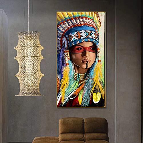 Aquarel Abstract Indiaan Portret Canvas Schilderij Posters en Prints Scandinavische Wall Art Foto voor Woonkamer_60x120cm