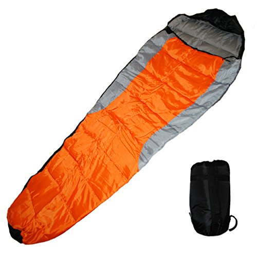 Shop4Omni Adult Mummy Type Camping Sleeping Bag with Carrying Case (Orange)