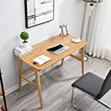 Nnewvante Writing Computer Desk 46' Bamboo Home Office Table with 2 Drawers,Modern Furniture Simple Study Makeup Workstation