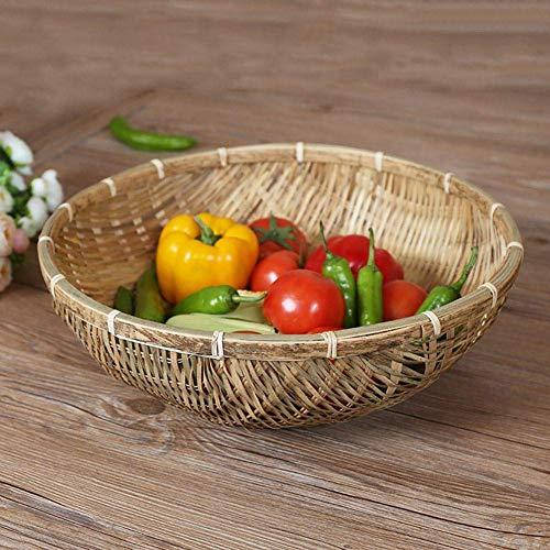 Cestini di bambù intrecciati a mano fatti a mano Cesto in vimini rotondo Bambù Naturale Cestini di immagazzinaggio di cestini di pane per frutta Verdura Cestino per lo spuntino Snack Food 1 PZ