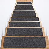 Carpet Stair Treads, Set of 15 Stair Grips Tape, 7.5'x30' Safety Staircase Step Treads for Kids Elders Pets, Non-Slip Strips Stair Traction Treads, Stair Runner for Indoors & Outdoors (Dark Gray)