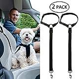 Yumi V 2 Pcs de Cinturón de Seguridad para Perros, Arnés de Seguridad para Perros Ajustable Correa de Seguridad para Perros Cables para Uso Diario de Viaje (Negro)