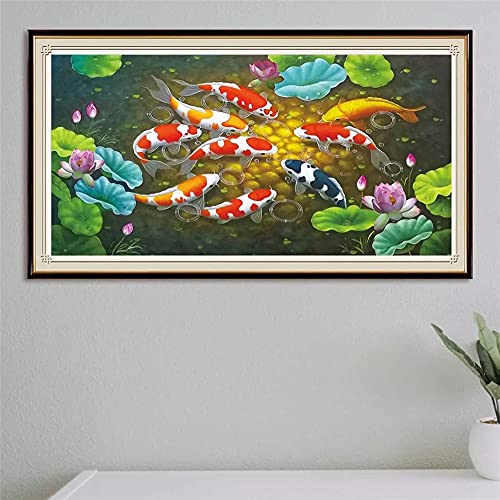 DIY 5D Large Size Diamond Painting Lotus Fish Kits Full Drill,Diamond Embroidery Pictures Rhinestone Crystal Cross Stitch Arts Craft for Home Wall Decoration 70x140cm/28x56in Round Drill