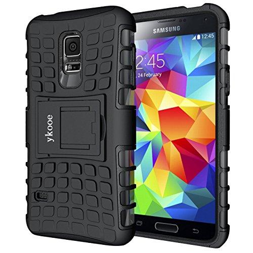 ykooe Cover Samsung Galaxy S5 Mini, Silicone Custodia Samsung S5 Mini Doppio Strato a Ibrida Phone Caso con Supporto per Samsung Galaxy S5 Mini