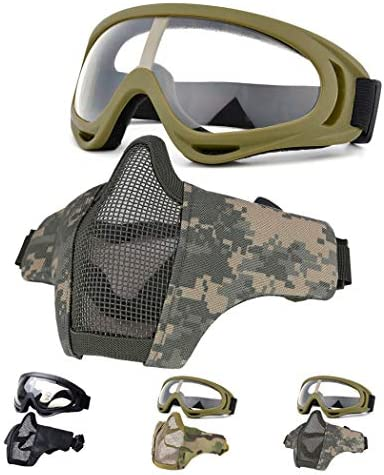 Fansport Airsoft Mask Tactical Goggles Set Lower Half Face Mesh Masks Foldable Steel mesh mask product image