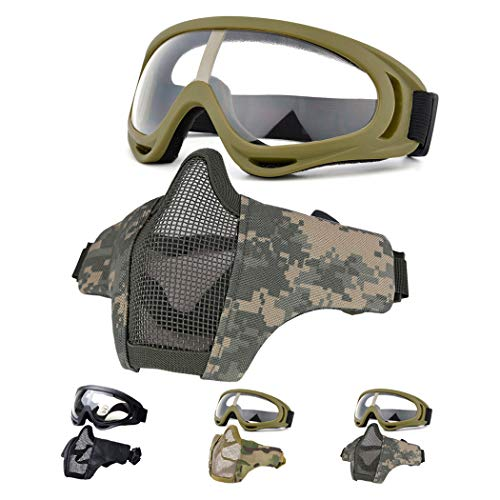 Fansport Airsoft Mask Tactical Goggles Set, Lower Half Face Mesh Masks Foldable Steel mesh mask Airsoft Protective Mask with Goggles Set for Hunting, Shooting, Paintball (Green)