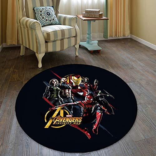 WallDiy Tappeto Rotondo Logo del Supereroe Tappeti Morbidi Stampati Tappeti Antiscivolo Tappetino per Sedia da Computer Tappetino per cameretta Decorazioni per la casa