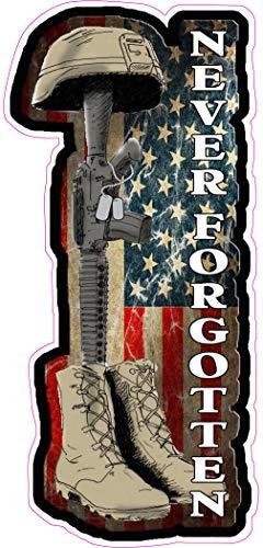 "Battle Field Cross Never Forgotten Sticker 16"" х 7.5"" for Car Decal Truck Window Laptop Auto Vinyl Motorcycle Helmet"