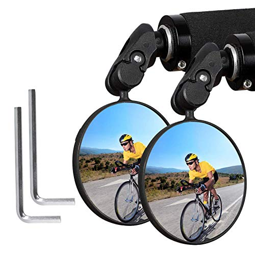 Eleckal Bike Mirror 2pcs Bicycle Cycling Rear View Mirrors Wide Angle Rear View Shockproof Convex Mirror Adjustable Handlebar Mounted Plastic Convex Mirror for Mountain Road Bike Bicycle