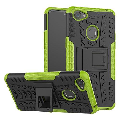 TiHen Handyhülle für Oppo F7 Hülle, 360 Grad Ganzkörper Schutzhülle + Panzerglas Schutzfolie 2 Stück Stoßfest zhülle Handys Tasche Bumper Hülle Cover Skin mit Ständer -Grün