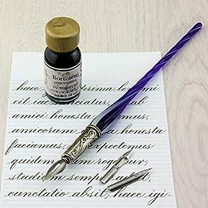 Bortoletti Fonderia Artistica - Pluma caligráfica Molin de cristal de Murano, color turquesa