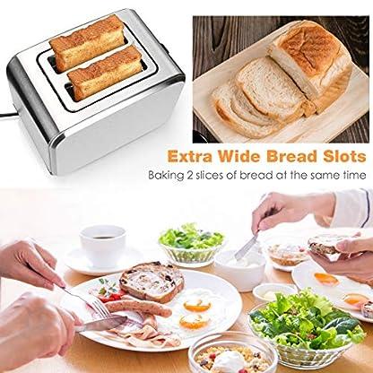 UBEGOOD-Toaster-Edelstahl-Toaster-2-Scheiben-Toaster-Doppelschlitz-Auftau-Toaster-mit-Herausnehmbarer-Kruemelschublade-6-Einstellbare-Braeunungsstufen-und-AuftauAufwaermAbbrechen-Funktion-Silber