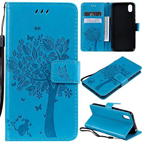 Zchen Huawei Y5 2019 Hülle, Kunstleder Portemonnaie Handy-Schutzhülle Book Flip Design Klapphülle Etui Tasche für Huawei Y5 2019/Honor 8S (Katze-Blau)