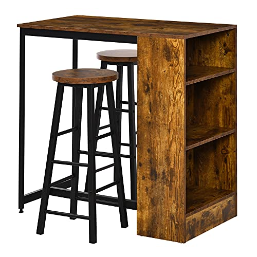 HOMCOM 3 Piece Industrial Style Bar Table Set, Pub Dining Table Set Height Table and 2 Stools with Storage Shelf for Kitchen, Living Room, Coffe Shop, Rustic Brown