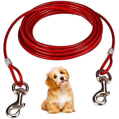 BESTZY Tie Out Cables für Hunde 10ft (3M) Pet Spiralförmiger Pflock und Leine mit Anti-Winding Metall Ring Hunde Run Kette für Hunde