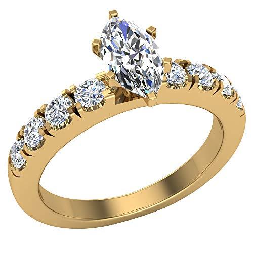 Anillos de compromiso para mujer, talla marquesa de oro amarillo de 18 quilates, 0,70 quilates (D, VVS), certificado GIA (tamaño de anillo 7)