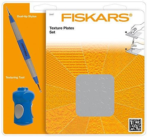 Fiskars Placas de texturas, Set de inicio, con 6 Placas a doble cara y Estilete, 1003731