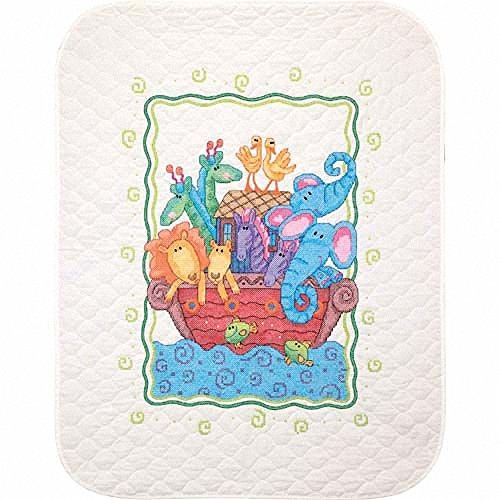 DIMENSIONS Stamped Cross Stitch 'Noah's Ark' DIY Baby Quilt, 34