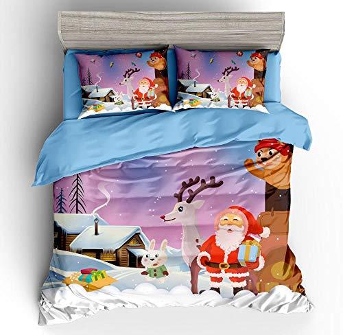 Wzhfsq Fxirza 3 Pieces Duvet Cover,3D Printed Cartoon Santa 135 * 200Cm Bedding Set,2 Pillowcases,Hidden Zipper,Polyester Fiber Sport Quilt Cover