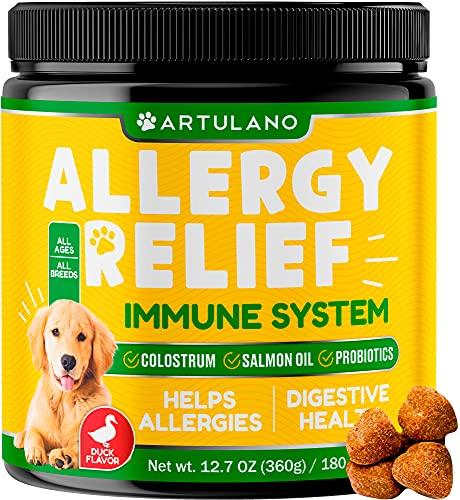 Artulano Dog Allergy Relief Immune Supplement - 180 Soft Chews with Colostrum and Probiotics - Supports Itch Relief, Helps Refine Skin and Coat - Digestive Health Support for Dogs with Duck Flavor