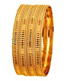 Touchstone New Golden Bangle Collection Indian Bollywood Desire Brass Base Laser Cut Etching Work Depiction of Indian Fine Jewelry Designer Bangle Bracelets Set of 4 in Gold Tone for Women.