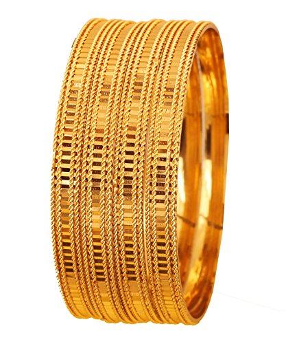Touchstone Goldene Armband-Kollektion indische Bollywood-Wunsch Messing Laser-Schnitt Etching Arbeit Fine Jewelry Designer Armband-Armbänder Set 4 In Goldton für Frauen.