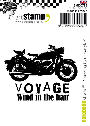 Carabelle Studio Cling Stempel Mini - Traveling by Motorcycle, Rubber, White transparent, 5 x 6 x 0.5 cm