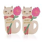 moin moin メッセージ カード お誕生日 バースデーカード 花を届ける 猫 グリーティング カード + 封筒 (白猫 2つセット) 2006me110