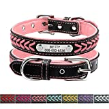Didog Leather Custom Collar,Braided Leather Engraved Dog Collars with Personalized Nameplate for Small Medium Large Dogs,Pink,L Size
