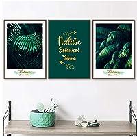 キャンバスアート緑の葉熱帯植物壁アートキャンバス絵画ポスターとプリント壁の写真リビングルームの装飾-50x70cmx3フレームなし
