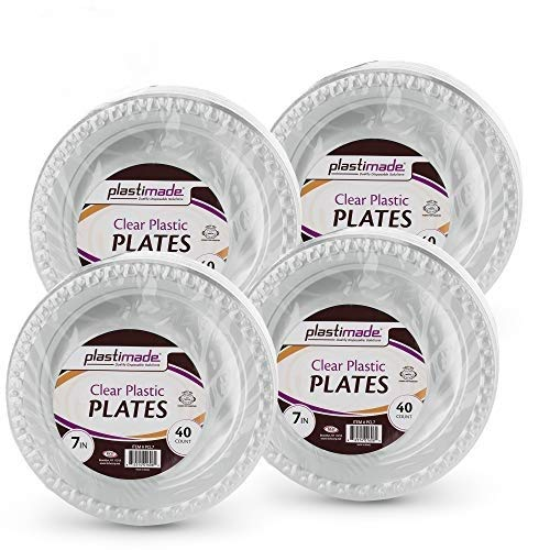 [160 Count] Plastimade 7 Inch Appetizer Plates Clear Disposable Heavy Duty Plastic, Ideal For Wedding, Catering, Parties, Buffets, Events, Or Everyday Use, 4 Packs