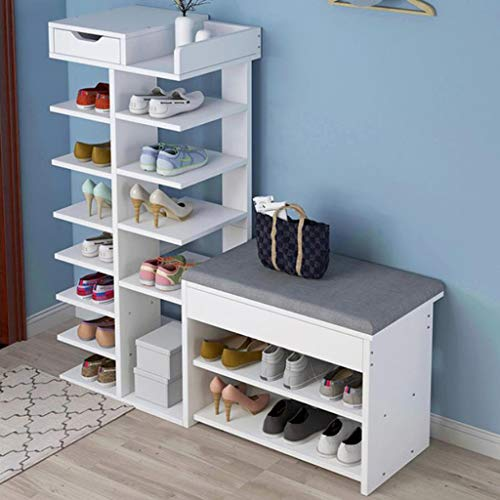 M-YN Zapatero 8-Tier Zapato Rack de Almacenamiento con cajones, de Madera del Zapato Estante, Zapatos Organizador del gabinete, for Sala de Estar, Entrada, Pasillo (Color : A, Size : 120CM)