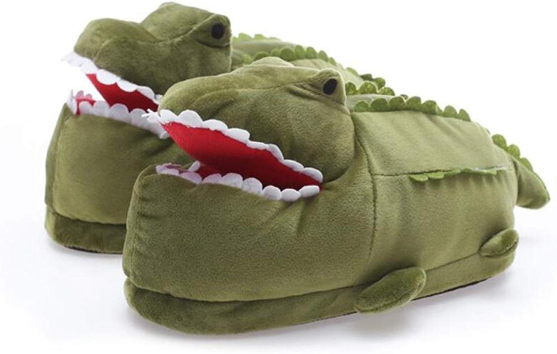 Women Men Cute Cartoon Crocodile Slippers Girls Boys Winter Warm Home shoes Mute Indoor shoes