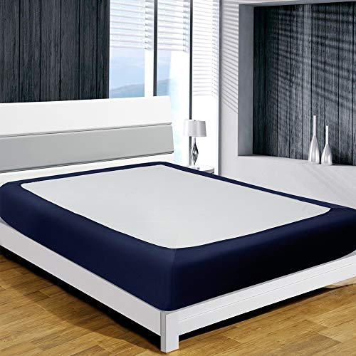 Twin Six Box Spring Cover, Box Spring Wrap, Sleek Alternative for Bed Skirts, Extra Gift: Elastic Band (Navy Blue, King)