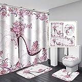 Cortina de ducha Set de 4 piezas Rosado Mariposa Flores Corazón En forma de corazón Fondo Fondo Cuarto de baño Decoración Cortina de tela con alfombras y alfombrillas de baño Accesorios,150*180cm