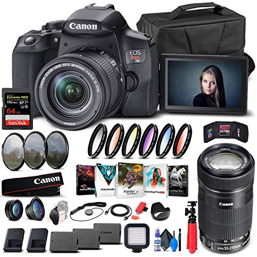 Canon EOS Rebel T8i DSLR Camera with 18-55mm Lens (3924C002) + Canon EF-S 55-250mm Lens + 64GB Memory Card + Case + Corel Photo Software + 2 x LPE17 Battery + Card Reader + More (Renewed)