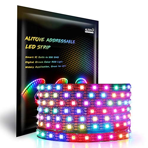 ALITOVE Ws2812B einzeln adressierbaren LED-Streifen-Licht-5050 RGB 16.4ft 300 LED-Pixel Flexible Lampen-Schlauch PCB DC 5V Nicht wasserdicht schwarz fpcb