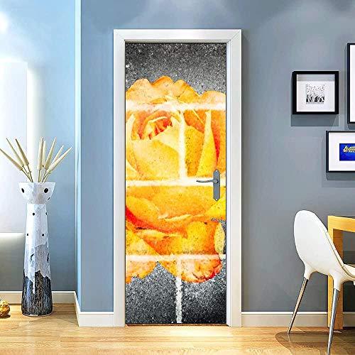 KEXIU 3D Rosa amarillo ladrillo negro PVC fotografía adhesivo vinilo puerta pegatina cocina baño decoración mural 77x200cm