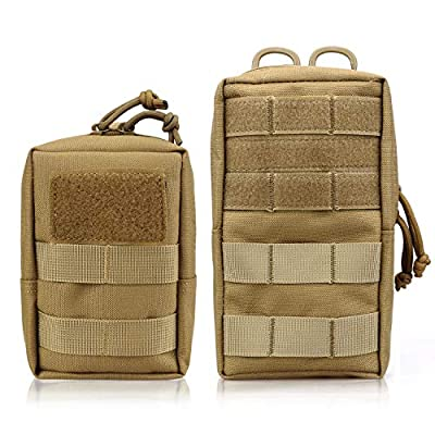 "AMYIPO MOLLE Pouch Multi-Purpose Compact Tactical Waist Bags Small Utility Pouch (Khaki (6"" x 4"" Pouch + 8"" x 4.5"" Pouch))"