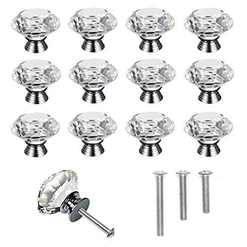 YUYIKES 40mm Diamond Shape Crystal Glass Cabinet Knobs Transparency 12 Pack for Drawer, Chest, Bin, Dresser, Cupboard (12 pcs of transparency)
