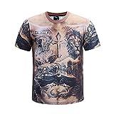 XJWDTX T-Shirt 3D Stéréoscopique Digital Fitness Tattoo Muscle Men Manches Longues Fitness Élastique