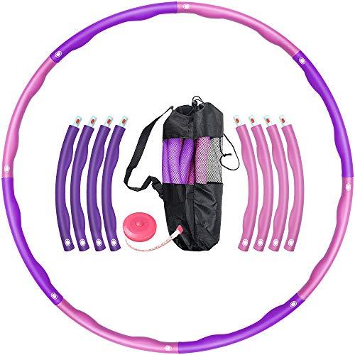 Oxsaytee Hula Hoop Reifen, 1.2KG Fitnesskreis Gewichtsverlust Schlankheits Kreis für Fitness-Training Erwachsene & Kinder, 8 Abnehmbare Hula-Hoop-Reifen mit Mini Bandmaß