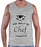 Camiseta de tirantes para hombre de Hariz, con texto en alemán 'Hier Grillt Der Chef' gris claro XXXXL