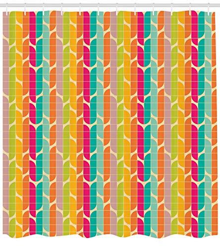N\A Retro Duschvorhang, Bauhaus-Stil inspiriert Bunte quadratische Fliesen und Viertelkreise in modernem Design, Stoff Stoff Badezimmer Dekor Set mit Haken Mehrfarbig