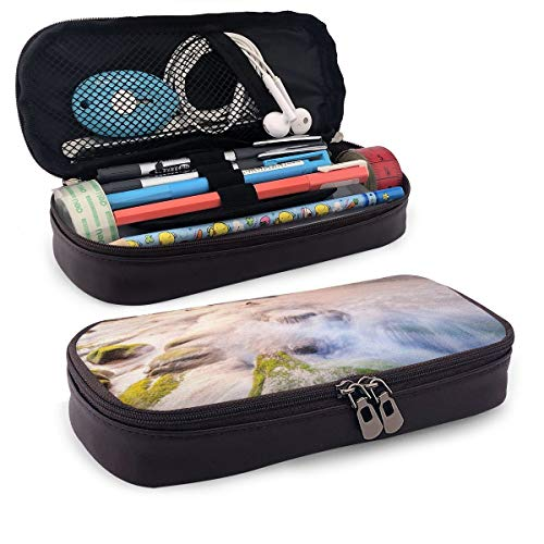 Pencil Case Big Capacity Storage Holder Desk Pen Pencil Marker Stationery Organizer Pencil Pouch with Zipper,Malaysia Landmark Nature Wonders Photo Of Fountains Stream Mossy Rocks With Ombre Sky