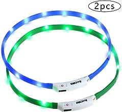 Zacro 2Pcs Collar Perro Luz-Collar Perro LED Brillantes, USB Recargable Collar Perro Seguro para Mascotas, 3 Modos de LED Perro Collar Brillantes y Longitud Ajustable para Perros(Verde y Azul)