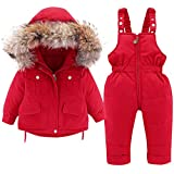 Minizone Kids Snowsuit Winter Hooded Down Jacket + Snow Bib Pants 2PCS Baby Boys Girls Fashionable and Lightweight Ski Suit for Toddler 2-3 Years Red