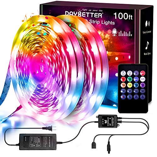 Daybetter Music Sync Led Strip Lights Kit, RGB Color Changing 100ft 540Leds