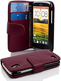 Cadorabo Book-Style Case for HTC Desire X with Card Compartment Made of Textured Faux Leather Bordeaux Purple